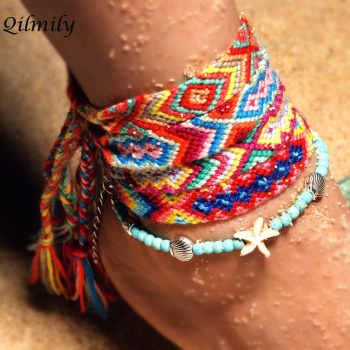 Qilmily Boho Double Conch Starfish Braided Anklet Bracelet