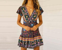 Andador Bohemian Beach Dress 2019 New Holiday Short Sleeve Deep V-neck Big Pleated Print Women's Dresses Casual Floral Sundress