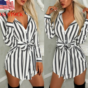 Women arrival Long Shirt Dress V-neck Stripe Print Summer Mini Dress Shirtdress