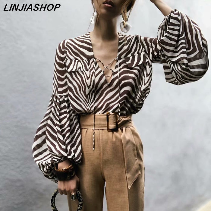 Vintage Designer Summer Women Blouse Puff Sleeve Zebra-Stripe Square