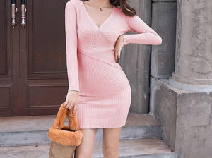 2019 Spring Autumn Women Knitted Cotton Skinny Sweater Dress V-neck Slim Bodycon Dress Elegant Pink Apricot Sexy Party Vestidos