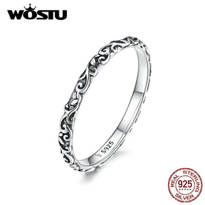 WOSTU Minimalist Flower Ring 925 Sterling Silver Delicate Rings Finger