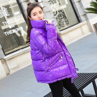 Metal Solid Black Red Bright Jackets Coats Women's Winter Warm Down Cotton