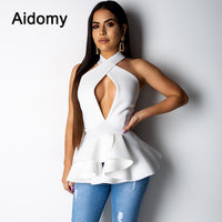 Sexy Womens Tops And Blouses Sleeveless Cut Out Shirts Summer Women Ruffles