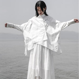 [EAM] 2019 New Spring Summer Lapel Long Sleeve White Loose Oversize Irregular Loose Shirt Women Blouse Fashion Tide JS921