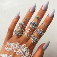 Docona Bohemia Geometric New Fashion Vintage Silver Gold Color Finger Rings Sets