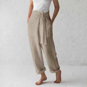 Celmia Women Vintage Linen Wide Leg Pants 2019 Summer Female Bottoms Casual Loose Harem Pant Pockets Long Pantalon Plus Size 5XL