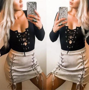 Women's Bodycon Bodysuit V Neck Long Sleeve Bandage Jumpsuit Romper Leotard Top