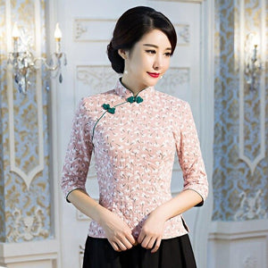 Chinese Traditional Female Mandarin Collar Shirt Classic Flower Clothing Traditional Handmade Button Clothes Vintage Lady Blouse