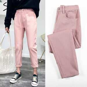 high waist jeans woman harem jeans Pink beige brown black plus size 32 mom pants jeans for women 2019 new spring elastic waist