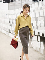 GRRCOSY Maternity Shirts New Spring Summer Lapel Long Blouse Leisure Sundress