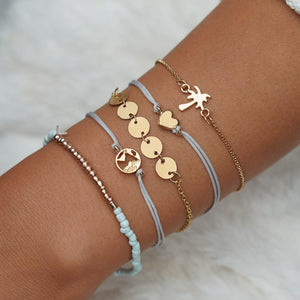 5 Pcs/ Set Love Heart Tree Charm Bracelet & Bangle Set for Women Summer