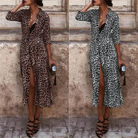 Women Long Sleeve Shirt Maxi Dress Casual Leopard Print V-Neck Slit Belt Dresses