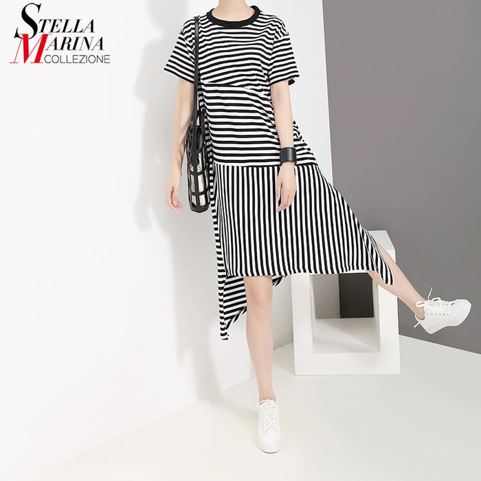 Women Summer Short Sleeve Sundress Striped Irregular Hem Ladies