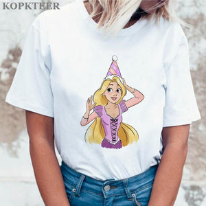 Women 2019 Summer Graphic Tee Shirt Femme Funny Princess Vogue Harajuku T Shirt Korean Tops Kawaii Streetwear Camiseta Mujer
