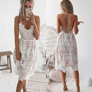 Sexy Lace Dress Women Summer Dress 2019 Deep V Neck Backless Party Dresses female vestidos Sleeveless Halter Bandage Midi Dress