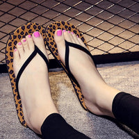 Summer Flip Flops Women Leopard Slippers Ladies Shoes Mules Slippers Indoor Outdoor Flip-flops Fashion Beach Flat Slides Zapatos