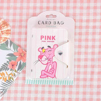 Cartoon Pink Panther Card ID Holders Travel Small Bank Bus Credit Holder