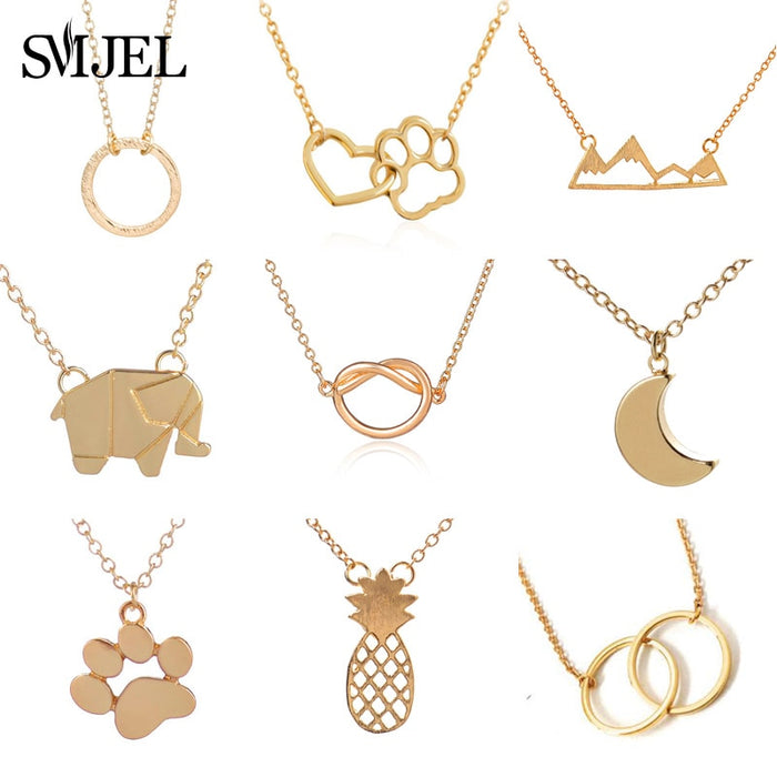 SMJEL Double Circle Necklaces & Pendants collier femme Jewelry Fashion
