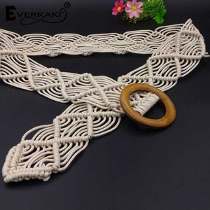Everkaki Wax Rope Knitted Belt Round Wooden Buckle Boho Women Belt Simple Harajuku Solid Knitted Belts For Women Dress Jeans