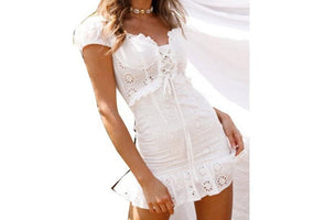 White Embroidery Cotton Dresses Summer Women Short Sleeve Casual Beach Sundress Sexy V Neck Hollow Out Mini Dress