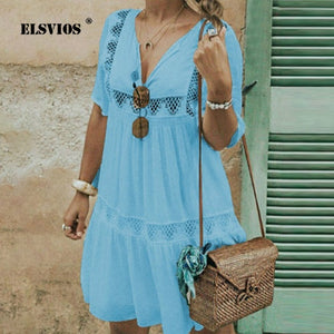 ELSVIOS Plus Size S-5XL Summer 2019 Women V-neck Short Sleeve Patchwork Mini Dress Female Casual Beach Dresses Sundress Vestidos