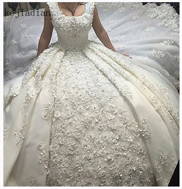 Plus Size Full lace Luxury Ball Gown Wedding Dresses 2019 robe de mariage