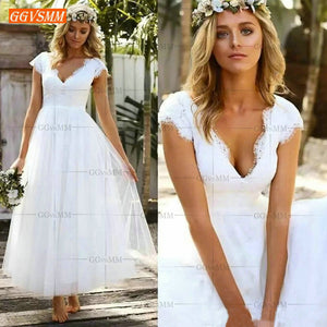 Elegant Boho Women White Wedding Gowns 2019 Wedding Dress Party Slim Fit