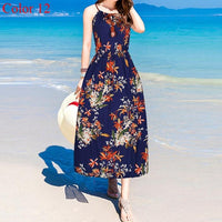 Women Summer Dress 2019 Strap Beach Dress Women Sleeveless Boho Summer Beach Dress