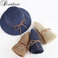 Doitbest Floppy Simple Women's Straw Hats Summer Sun Hats for Women Lady Beach Hats Wide Brim Foldable sunscreen cap