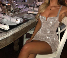 Summer Style Silver Glitter  Party Dresses Lady Night Club Sexy Bodycon Dress