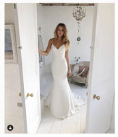 LORIE Mermaid  Beach Wedding Dress Spaghetti Straps 2019 Mermaid Bride Dress
