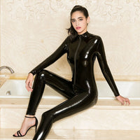 PU Latex Catsuit Women Black Red Wetlook Faux Leather Bodysuit Gay