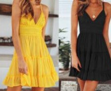 2019 New Women Summer Boho Short Mini Dress V Neck High Waist Evening  Party Beach Dresses Sundress