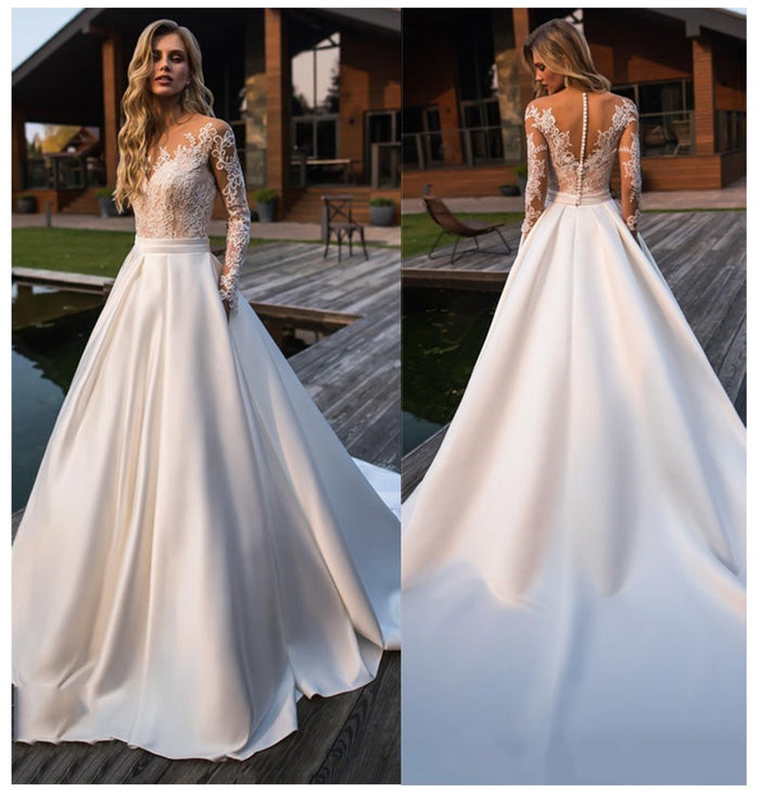 LORIE Wedding Dress Long Sleeves Beach Bride Dress Appliques Lace Sexy See