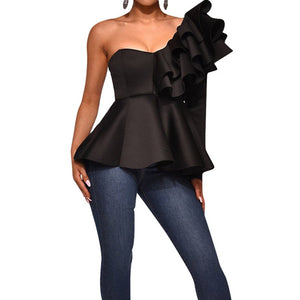Ruffle Trim One Shoulder Peplum Top  Black White SWomen Shirts Slim Fit Elegant