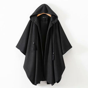 New Women Winter Black Long Coat Ladies Cotton Fashion Cardigan Jackets Women-s Harjuku Hooded Cloak Capes ponchos y capas mujer