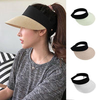 Summer Straw Sun Hat Simple Women Outdoor Backable Sun Visor Hats For Women Wide Brim Uv Protection Female Chapeau Femme Ete