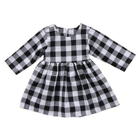 Newborn Baby Girls DressLong Sleeve Princess Plaid Kids Dresses For Baby Party Wedding Pageant Tulle Tutu Dress For Little Kids
