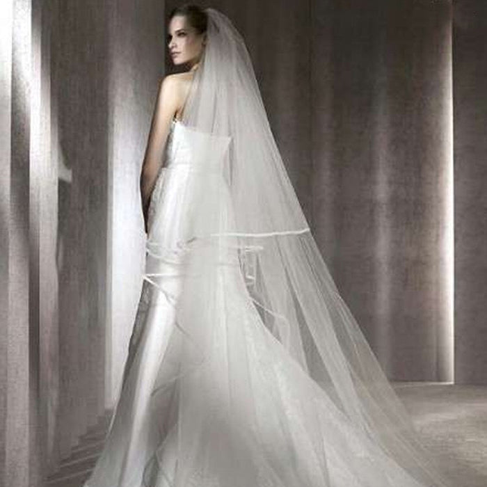 Romantic 3 M Cathedral Wedding Veil 2 Layeres Long Bridal Veils With Comb