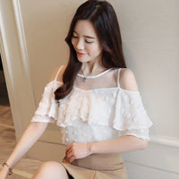 New 2019 Summer Fashion Solid Women Blouses Shirts O-Collar Lace Off Shoulder Wavy Ruffled Sleeve Chiffon Shirt Slim Top 0642 40