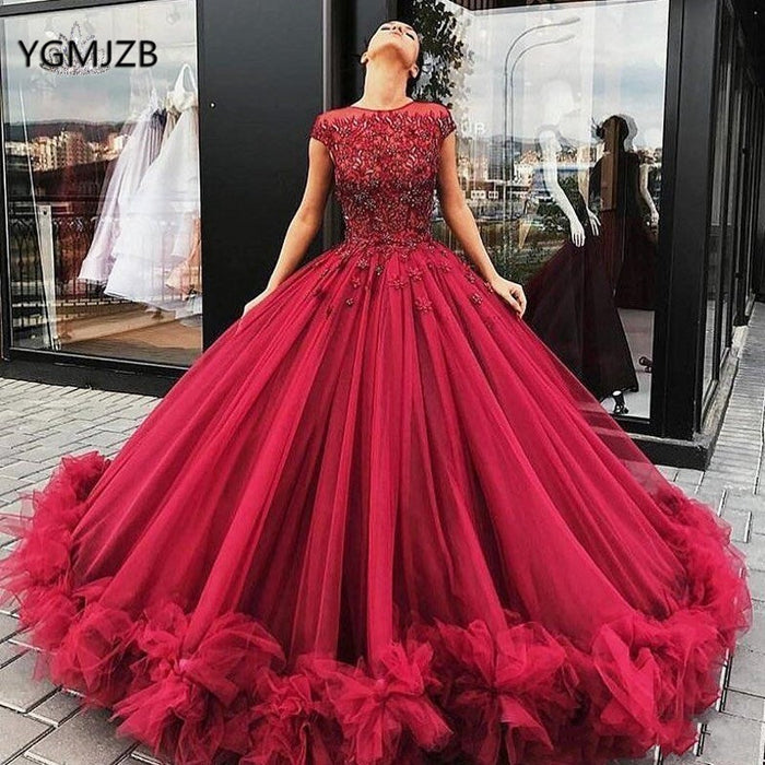 Elegant Prom Dress Long 2019 Ball Gown Beading Crystal Short Sleeves