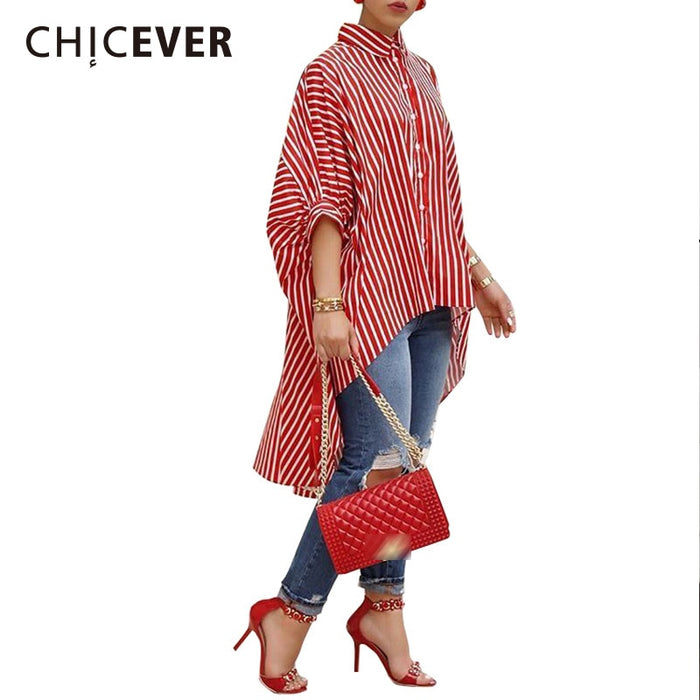 CHICEVER Striped Women's Shirt Blouses Loose Plus Size Batwing Sleeve Hem Asymmetrical Summer Blouse For Women Fashion Tide New