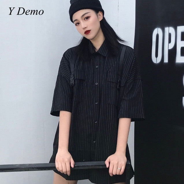 Oversized Short Sleeve Striped Shirt Turn Down Collar Pocket Women Harajuku