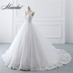 Simple White Wedding Dresses Princess long Applique Puffy Ball Gown Bridal Dress