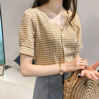 2019 Short Sleeve Plaid Women's Shirts Casual V Neck Blusa Feminina Lady Clothing Female Blouse Shirt blusas mujer de moda
