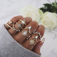 Free Fan Retro Gold Knuckle Rings Set For Women Vintage Geometric Rhinestone Bohemian Charm Finger Ring Female Party Jewelry