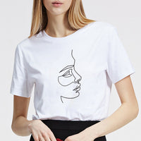 Srivb Stick Figure Painting T Shirt Women Korean Fashion New Harajuku Women Tops Short Sleeve Cotton Fashion O-neck Tshirt Women