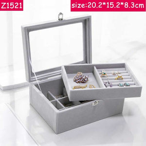 ANFEI Jewelry Display Velvet Gray Carrying Case with Glass Cover Jewelry Ring Display Box Tray Holder Storage Box OrganizerZ1511