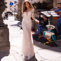 LORIE Illusion Full  Lace Mermaid Wedding Dresses Long Sleeve Applique